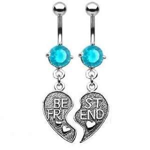 Belly Button Ring Navel Best Friends Broken Heart Body Jewelry Dangle