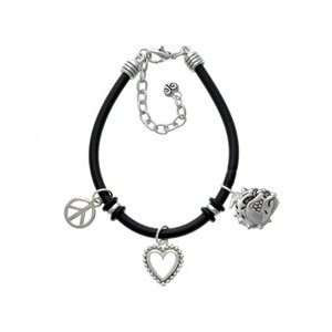 Large Bulldog   Mascot Black Peace Love Charm Bracelet