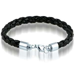 Braided Black Leather Mens Bracelet 8 MM 8 1/2 Inches with