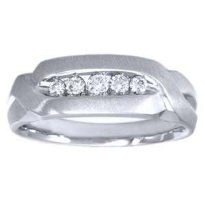 1/3 carat Diamond 14k White Gold Mens Wedding Ring Jewelry