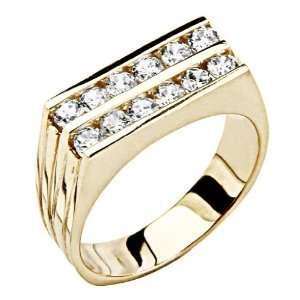 14K Yellow Gold Round CZ Cubic Zirconia High Polish Mens Wedding Band