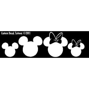 Mickey and Minnie Mouse Heads Set/4 Car Window Decal Sticker White 7