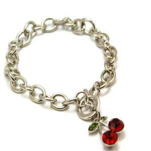 Red Crystal Cherry Charm Bracelet TOC13 Arts, Crafts