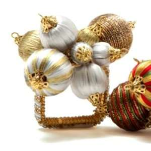 Holiday Ornament Napkin Ring   White/Gold  Set of 4