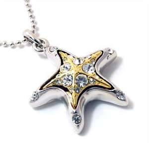Two tone Crystal Starfish Pendant Necklace Fashion Jewelry