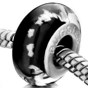 Day Jewelry Black White Dots Glass Beads Fits Pandora Charm Bracelet
