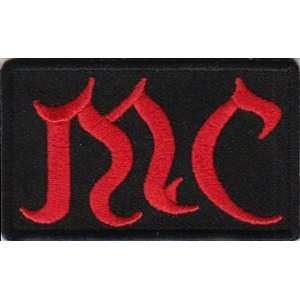 MC Patch  Red Old English lettering, 2.5x1.5 in