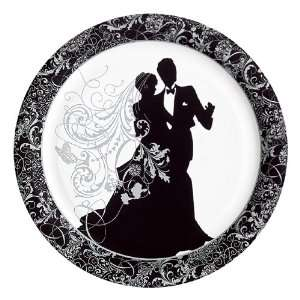 Wedding Silhouette Paper Banquet Dinner Plates