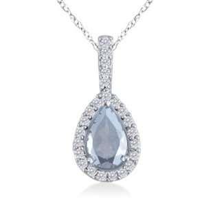 Diamond & Pear Cut Aquamarine Pendant In White Gold Jewelry