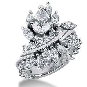 Diamond Ring Engagement Pear cut 14k White Gold DALES Jewelry