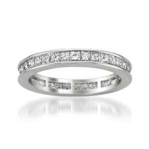 14k White Gold Princess cut Diamond Eternity Bridal Wedding Band Ring