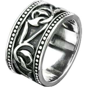 Size 9  Spikes Mens Stainless Steel Tribal Twisted Vine Wide Cast Ring