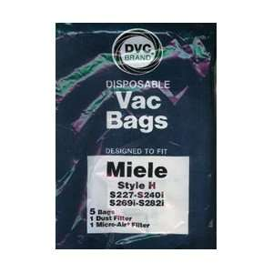 DVC Brand Miele Vacuum Type H Paper Bag 5 Pack & 2 Filters