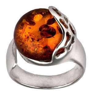 Color Amber Sterling Silver Round Adjustible Ring Graciana Jewelry