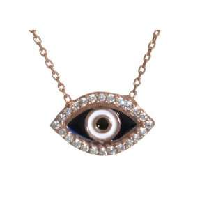 Jewelry CZ Evil Eye Rose Gold Plated Sterling Silver Necklace Jewelry