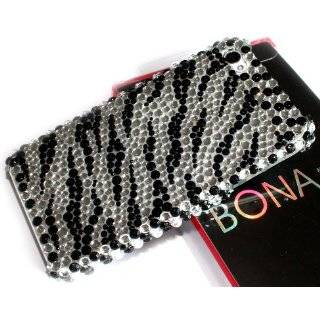 Black Zebra Skin Diamante Fusion Protector Cover Cell