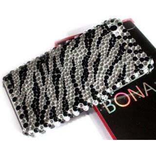 Black Zebra Skin Diamante Fusion Protector Cover Cell