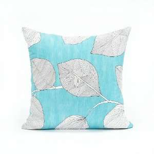 Aqua Blue & White Leaf Throw Pillow Cover   20in X 20in