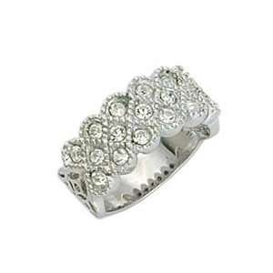 Classic Line Clear Swarovski Crystal Rhodium Ring, Size 5 9 Jewelry