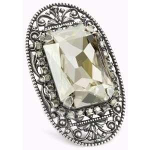 Liz Palacios Piedras Silver Swarovski Crystal Filigree Ring Jewelry