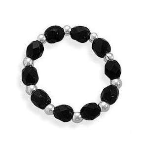 Black Glass Beads Stretch Toe Ring, One Size Fits All