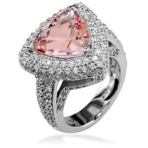 Ladies large trillion shape morganite and diamond ring in