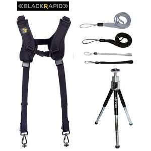 BlackRapid RS DR 2 Nylon Double Strap + 8 Mini Tripod With Pan Head