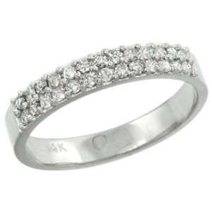14k White Gold 2 Row Diamond Ring Band w/ 0.31 Carat Brilliant Cut ( H
