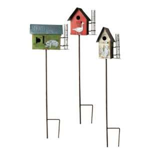 Set of 3 Rustic Wooden Farm Animal Birdhouse Garden Stakes