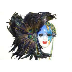 Gorgeous Green Feather Blue Porcelain Mardi Gras Mask