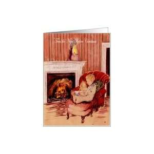 the night before Christmas, boy reading to teddy bear, vintage Card