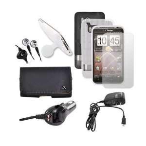 For HTC Thunderbolt Black Hard Case Charger SP Bundle