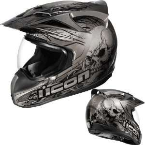 Icon Variant Etched Dual Sport Helmet Small  Black