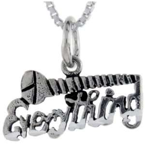 925 Sterling Silver Screw Everything Talking Pendant (w/ 18 Silver