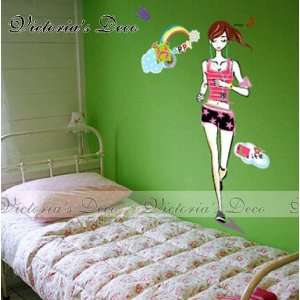 Wall Paper Stickers   Running Girl EC 017  Toys & Games