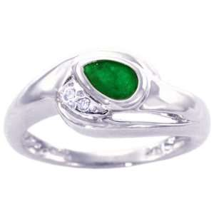 White Gold East West Pear Gemstone and Diamond Ring Emerald, size6.5