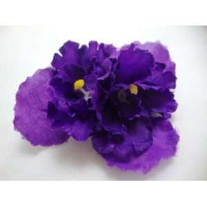 Double Purple African Violet Hair Clip