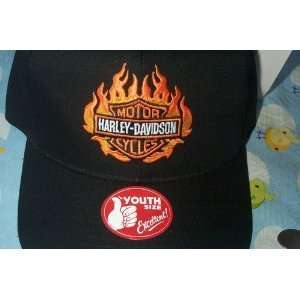 Youth Size   Harley Davidson   Flaming Shield Hat