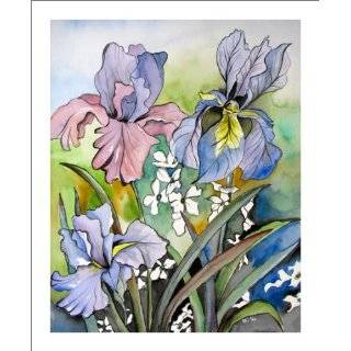 Iris Painting on Canvas Original Artwork Purple Irises Flower Wall Art