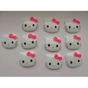 Cabochon Flat Back Kitty Cat Hot Pink Bow Cellphones 27mm*22mm* 5mm