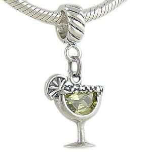 Happy Hour Silver CZ MARGARITA Dangle Charm fits European