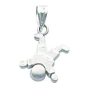 14K White Gold Diamond Cut Little Boy Charm Jewelry