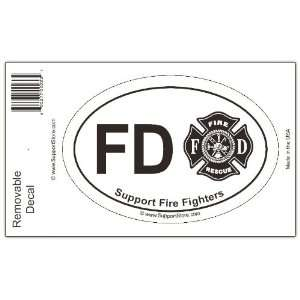 Support Fire Department Firefighters Decal   Oval