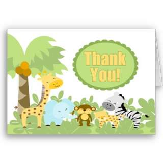 Its a jungle thank you card matches our Its a Jungle Baby shower