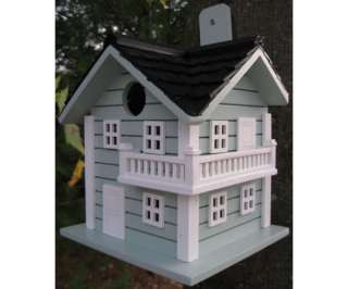Birdhouse Wood Beach House Light Blue Cedar Shake Roof