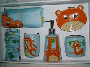 BLUE MONKEY BATH ACCESSORIES FABRIC SHOWER CURTAIN SET