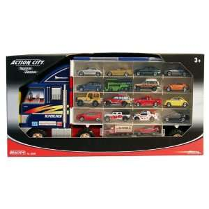 Action City Super Truck Carry Case & 18 Cars: .co.uk: Toys