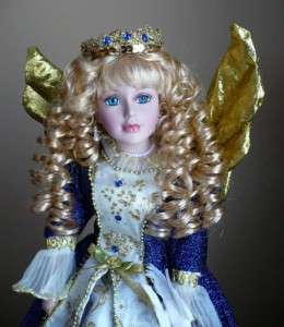 16 IN.PORCELAIN DOLLANGEL LONG BLONDE curly HAIR BLUE DRESS GOLD