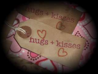 10 Primitive Valentine Hang Tags Hugs & Kisses LOVE Hearts Ties