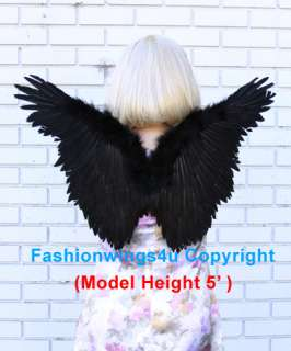 Childrens Black Butterfly costume feather angel wings